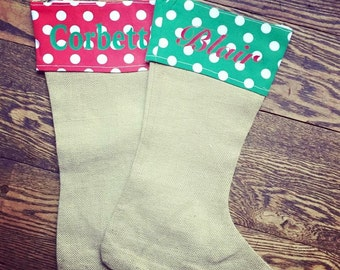 Burlap Stocking, Polka Dot Stocking, Christmas Stockings