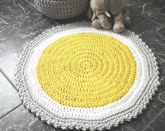 Yellow Crochet Round Rug Children, Cotton Baby Play Mat, Nursery Carpet, Knitted Accent Rug Mat, Baby Gift