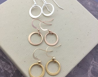 Circle hoop earrings, 925 silver jewelry, 14mm ring, Sterling silver, rose gold or yellow gold vermeil, minimalist jewelry E309S