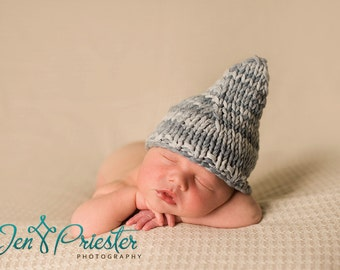 SALE Baby boy pixie hat newborn pointy beanie photo prop gnome stormy blue grey chunky cotton hand knit photography prop
