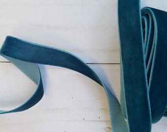 5/8 Teal Velvet NON ELASTIC Ribbon