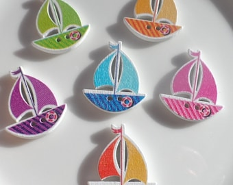 10 Wooden buttons to Sail Boat Ship 30x25mm