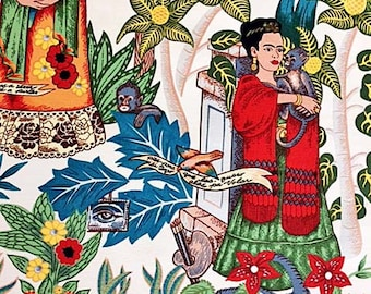 Fridas Garden Fabric | Upholstery | Alexander Henry Fabric | Folklorico | Heavy Oxford Cotton White | Mexican Material