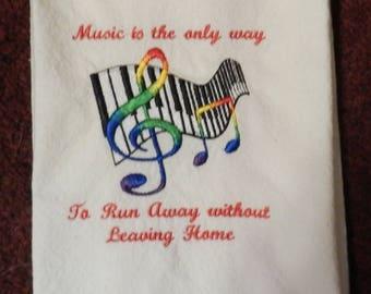 Embroidered Music Tea Towel, Dish Towel, Kitchen Towel, Music Theme