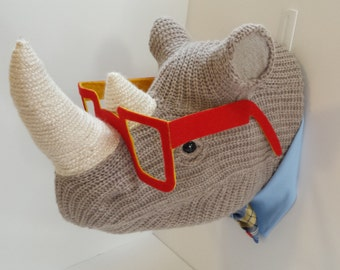 Handmade Faux Taxidermy -  Hipster Glasses Rhinoceros Head Wall Art - Home Decor - Paper Mache and Recycled Materials