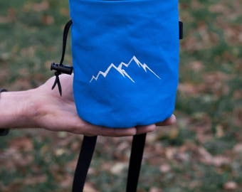 Rock Climbing Chalk Bag   Blue Mountain Chalk Bag   Mountain Outline Climbing Chalk Bag  Gift For Climber   Christmas Gift for Outdoors