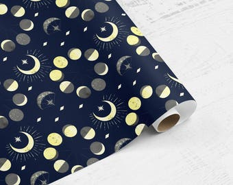 Celestial Moons Gift Wrap | Lunar Wrapping Paper | Holiday Wrapping Paper | Birthday Gift Wrap