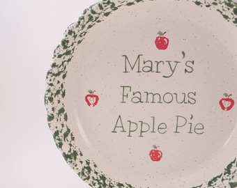 Apple Pie Dish - Personalized Pie Plate - Ceramic Apple Pie Plate - Deep Dish Pie Plate - Hand Painted Apple Pie Dish - Gift for Baker