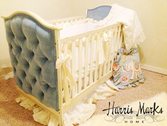 Cuna bebé monos tapizado terciopelo pintadas blanco oro rosa