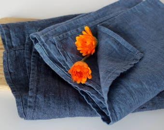Set of Blue Linen Dish Towels - Soft Organic Tea Towels - Stonewashed Flax Linen Hand Towel - Denim Blue Tea Towels Set - Foodie Gift