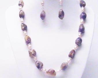 Natural Gemstone Purple Freeform Nuggets Necklace/Bracelet/Earrings Set