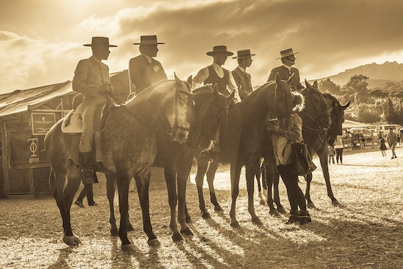 Spanish Cowboys,Spain,Horses,equine art,sepia prints,Limited Edition Print