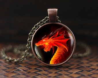 Red dragon pendant, Red dragon necklace, dark dragon necklace, dragon jewelry, dragon necklace, men's necklace