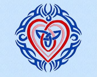 Celtic Nested Hearts Tribal Tattoo Machine Embroidery Design File