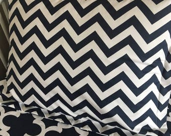 bedding standard pillow sham cover navy chevron zigzag
