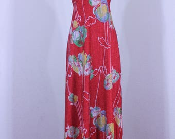 Joseph Magnin 1960s  Red  Metallic Mod Disco Dress Halter Plunging Back  Maxi Dress Floral Pattern Union Label