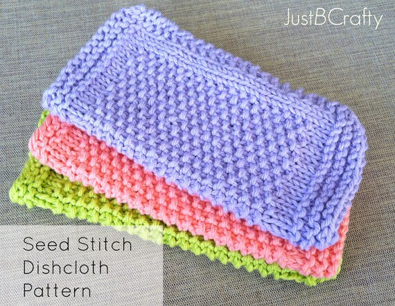 Seed Stitch Dishcloth Pattern Knitted Dishcloth Knit