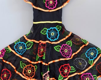 Image is loading MEXICAN-Embroidered-Dress-Oaxacan-Boho-Cotton-Tunic-Hippie-