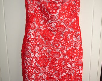 Red guipure lace shift dress ( size 14, READY TO SHIP  )
