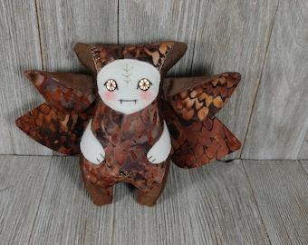 Fairy creature, elf monster, moth creature, owl,  fairy critter, handmade creature plushie by Miss Moth dolls