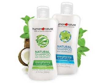 Human Nature Natural Strengthening Shampoo with CREAMFoam for brittle, falling hair, Soothing Aloe 200 ml