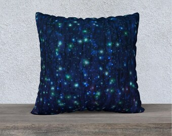 Midnight Firefly Pillow Case, Decorative Pillow, Throw Pillow, Square Pillow, Printed Pillow, Designer Pillow, Colorful Pillow