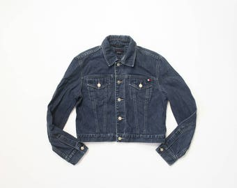 Tommy Hilfiger Jean Jacket Womens Cropped Denim Tommy Jeans 1990s Soft Grunge Aesthetic 90s Cotton Shirt Top Button Up Blue Y2K Medium