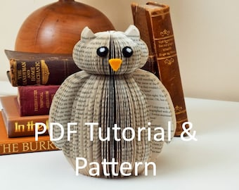 PDF Tutorial and Pattern - Book Art Owl - Paper cutting Pattern - Instructions - photos - Instant Download -Book Owl pattern template