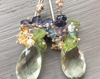 Green Amethyst Cluster Earrings  Multi Gemstone Cluster earrings
