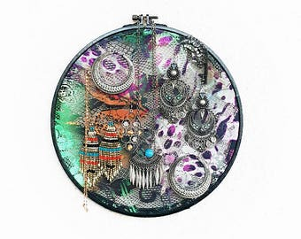 Jewelry organizer hoop, Jewelry rack, Earring holder, Necklace holder, Earring rack, Embroidery Hoop, Jewelry holder, Jewelry display