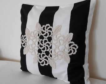 Black and White Striped Pillow, Modern Home Decor, Crochet Throw Pillow, Decorative Pillow, Designer Pillow, Lace Pillow, 18 x 18 Pillow