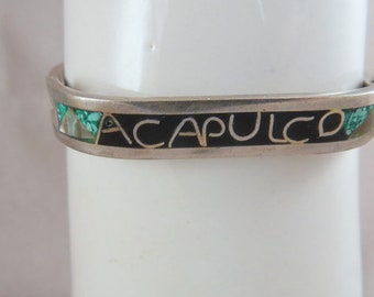 Vintage Taxco Mexico Bracelet Sterling Silver Enamel Turquoise Abalone