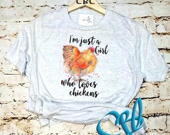 Just A Girl That loves Chicken youth, Chicken lover shirt, Chicken Shirt, 4-H Chicken Shirt, 4-H Shirt, 4-H, Girls Chicken Shirt, Farm