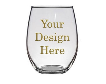 Custom Stemless Wine glass, rocks glass, personalized stemless wine glasses, Custom Wine glass, Bridesmaid glass, Bride glass