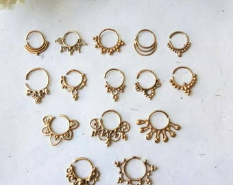 Brass Septum Ring, 15 Designs , Handmade, Real Septum Ring without piercing Septum Cuff, Septum Clip, Tragus, Helix, Cartilage. BR15