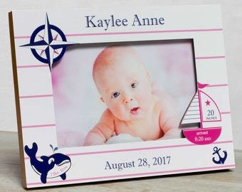 Personalized Baby Picture Frame, Baby Girl Picture Frame, New Baby Girl Frame, Baby Girl Frame, Girl Birth Frame Baby Girl Nautical Frame