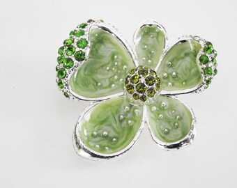 SALE NOW 20% OFF Gorgeous Green Enamel Rhinestone Flower Brooch