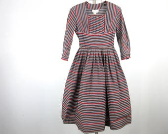 Vintage Women's Dress / Mid Century, 1950s, 1960s / Vicky Vaughn Label / Small, S Size / Striped, Pin Tucked / New Old Stock