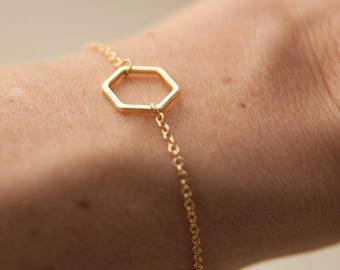 hexagon bracelet - gold bracelet - minimalist bracelet - fine jewelry - geometric bracelet - minimal jewelry -gift under 10