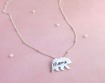 Mama bear sterling silver necklace, mothers day gift, gifts for mom, wife gift, baby shower gift, mom necklace, bear necklace, new mom gift