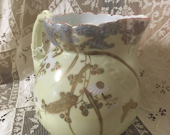 Japanese Floral Yellow Pitcher with Gold accents