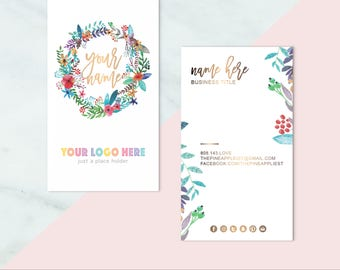 Boho business cards etsy llrlula boho business cards custom home office approved business cards for reheart Gallery
