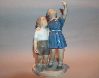 8378: Royal Copenhagen B & G Denmark 2278 Vintage Figurine Bing and Grondahl Girl and Boy at Vintageway Furniture