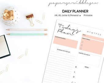 Daily Planner Printable, To Do List, Daily Schedule, Day Organizer, Daily Agenda, A5 Planner Insert, Daily Planner Inserts, Today