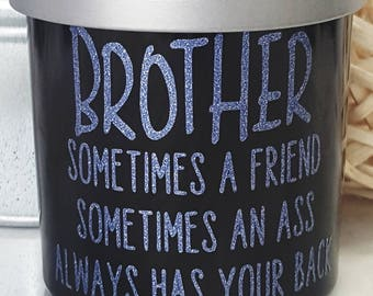 Brother - Natural - Scented Candle - Crackling Wood Wick - Wood Wick - 10 oz Jar - Handcrafted - Glossy Black Glass Jar - Gift -