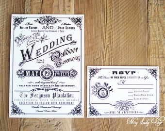 100 Vintage Wedding Invitations Steampunk Wedding Invitations - The Shelley Collection - Rose, Floral, Banner, Border - By My Lady Dye