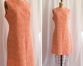 1960s Dress | Tangerine Dream | Vintage 60's MOD Scooter A-Line Dress Orange and White Damask Jersey Jacquard Knit Sleeveless Shift Size L