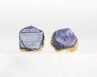 raw sapphire earrings | blue sapphire earrings | rough sapphire jewelry | raw stone earrings | september birthstone earrings | stud earrings