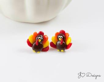 Turkey Studs, Thanksgiving Earrings, Turkey Earrings, Fall Studs, Fall Earrings, Thanksgiving Studs, Thanksgiving Jewelry, Clay Earrings