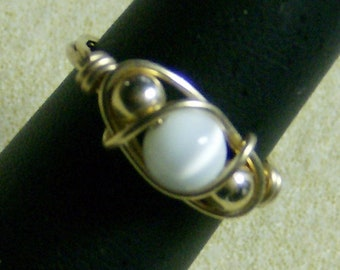 Wire Wrapped Ring, Exquisite - Beautiful Very Light Grey Cat's Eye in 14k Gold Filled Ring, Size 9, by JewelryArtistry - R350